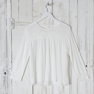Lace Front L/S Top in Off White