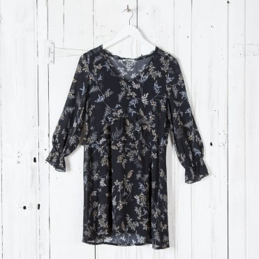 Long Sleeve Garden Print Dress in Black