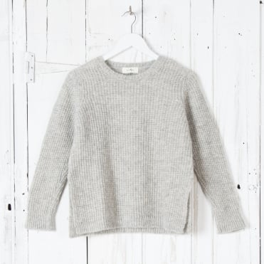 Lurex Knit Melange Roundneck in Grey