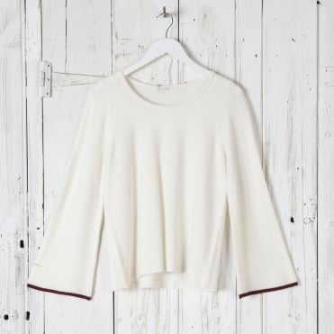 Neat Roundneck Off White Knit with Cuff Edging