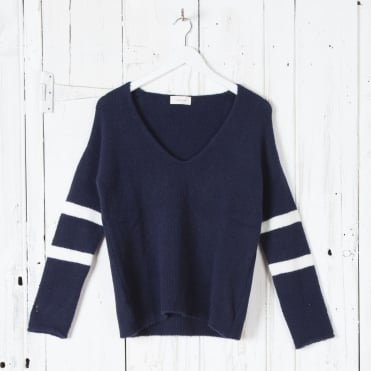 Oversize V Neck Stripe Arm Knit in Navy