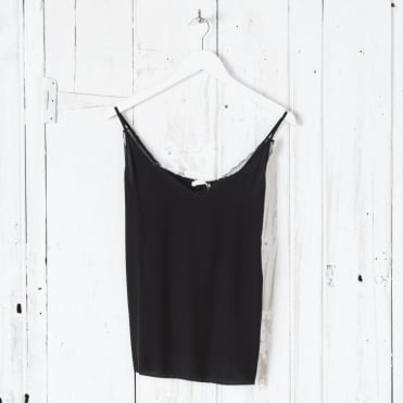 Simple Toile Edge Cami Top in Black