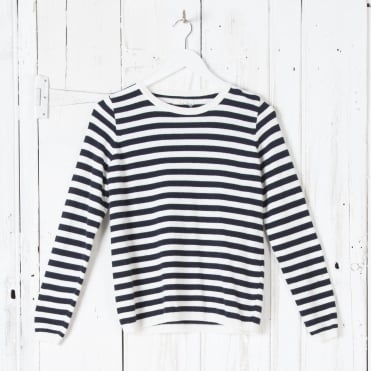 Stripe Soft Roundneck Knit in Navy