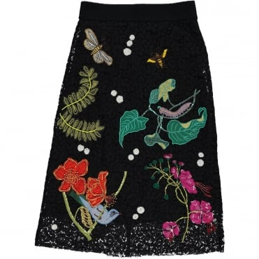 Embroidered Lace Skirt in Black