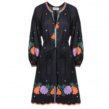 Folk Embroidered Dress in Black