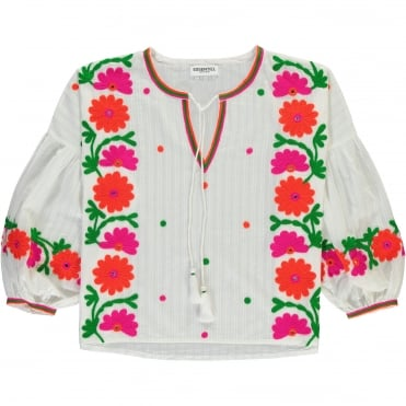 Folk Embroidered Top in White