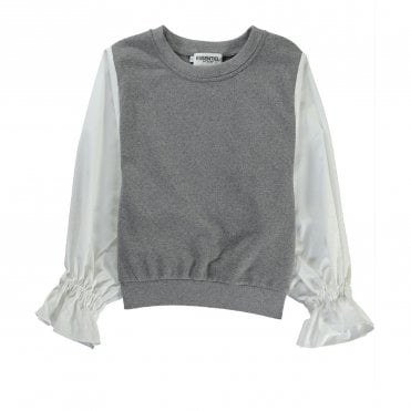 Retch Sweatshirt with Cotton Sleeves in Grey