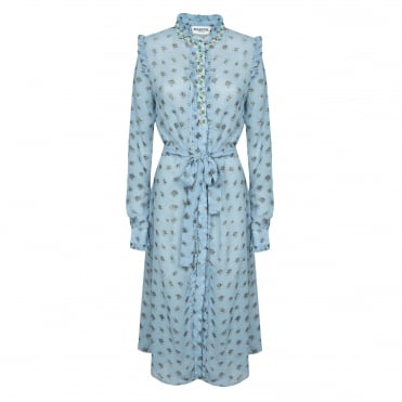 Viscose Daisy Print Midi Shirt Dress in Blue