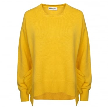 Cashmere and Wool Mix Knit with Side Frills in Lemon