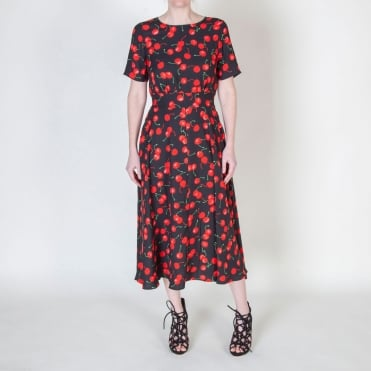 Cherry Print Midi Dress in Black