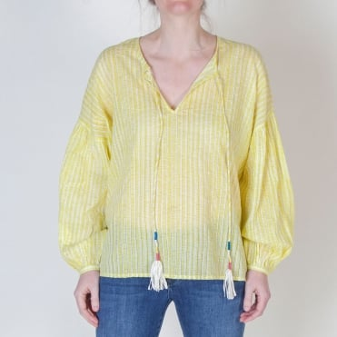 Easy Stripey Gypsy Top in Yellow