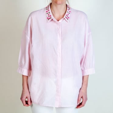Fine Cotton Pinstripe Shirt with Embellished Collar in Pink