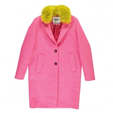 Fluro Pink Coat with Faux Contrast Collar