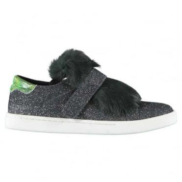 Fur Insert Glittery Flat Michel Sneakers