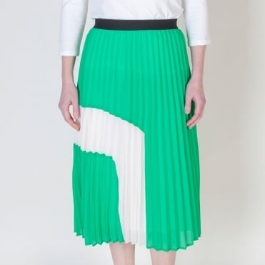 Graphic Sunray Pleat Skirt in Green