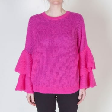 Kid Mohair Mix Ruffle Frill Knit in Fuschia