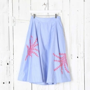 Midi Skirt with Twig Pattern