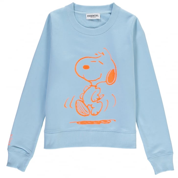 ESSENTIEL ANTWERP My Summertime Dance Snoopy Sweatshirt in Baby Blue