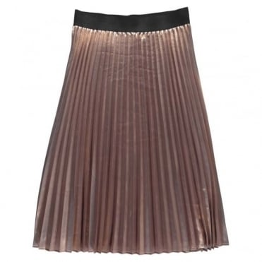 Nis Metallic Shine Pleated Midi Skirt