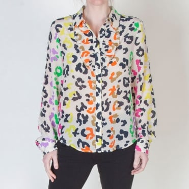 Off White Ruffled Silk Shirt With Leopard Print