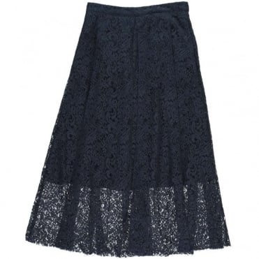 Pleat Lace Midi Skirt