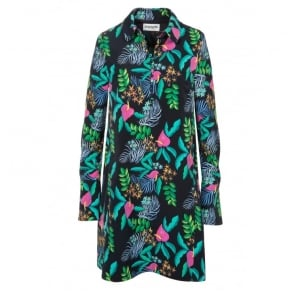 Tropical Print Shirt Dress with Buttons