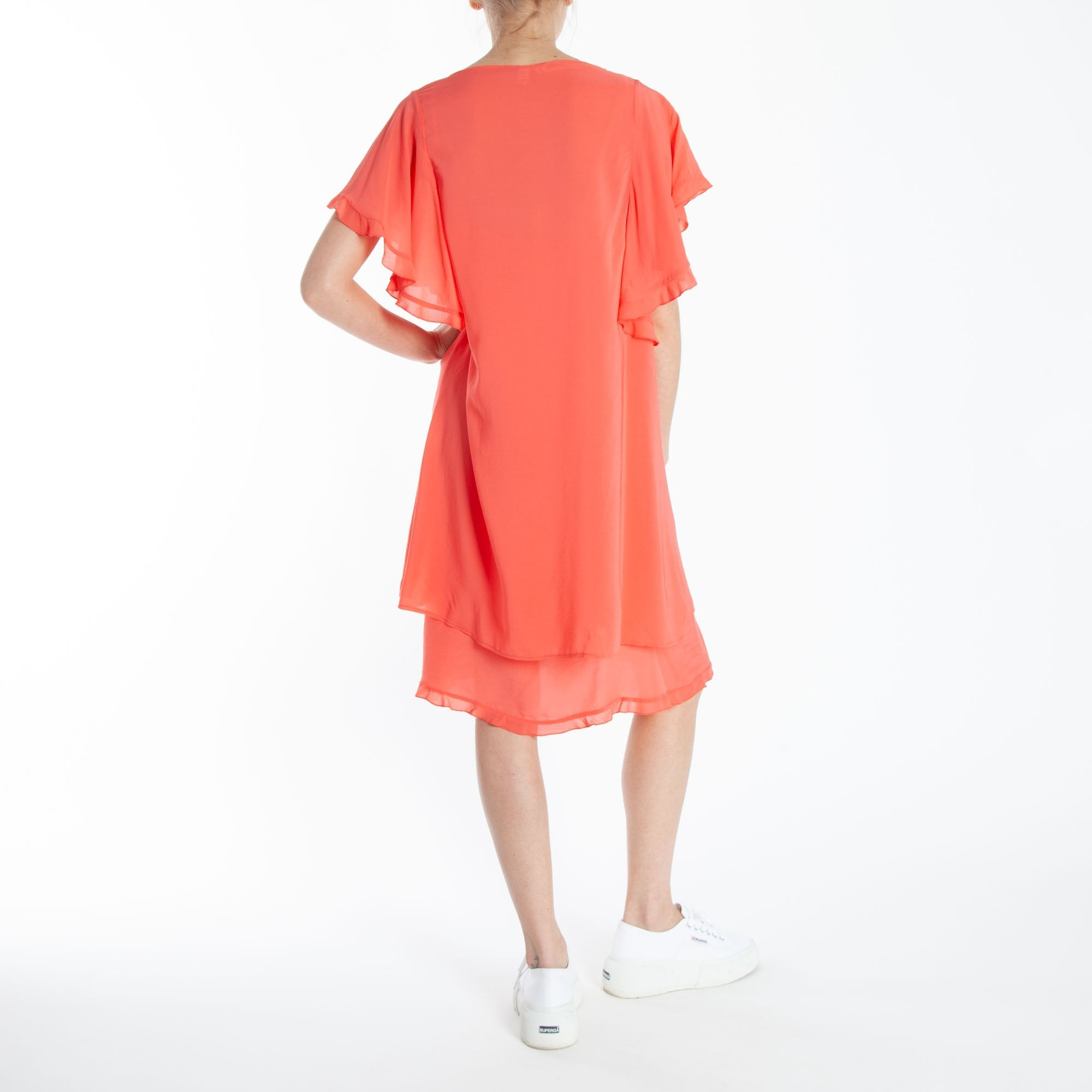 bd6a1a86e270 European Culture Flutter Sleeve Dress And Slip In Coral   Collen & Clare