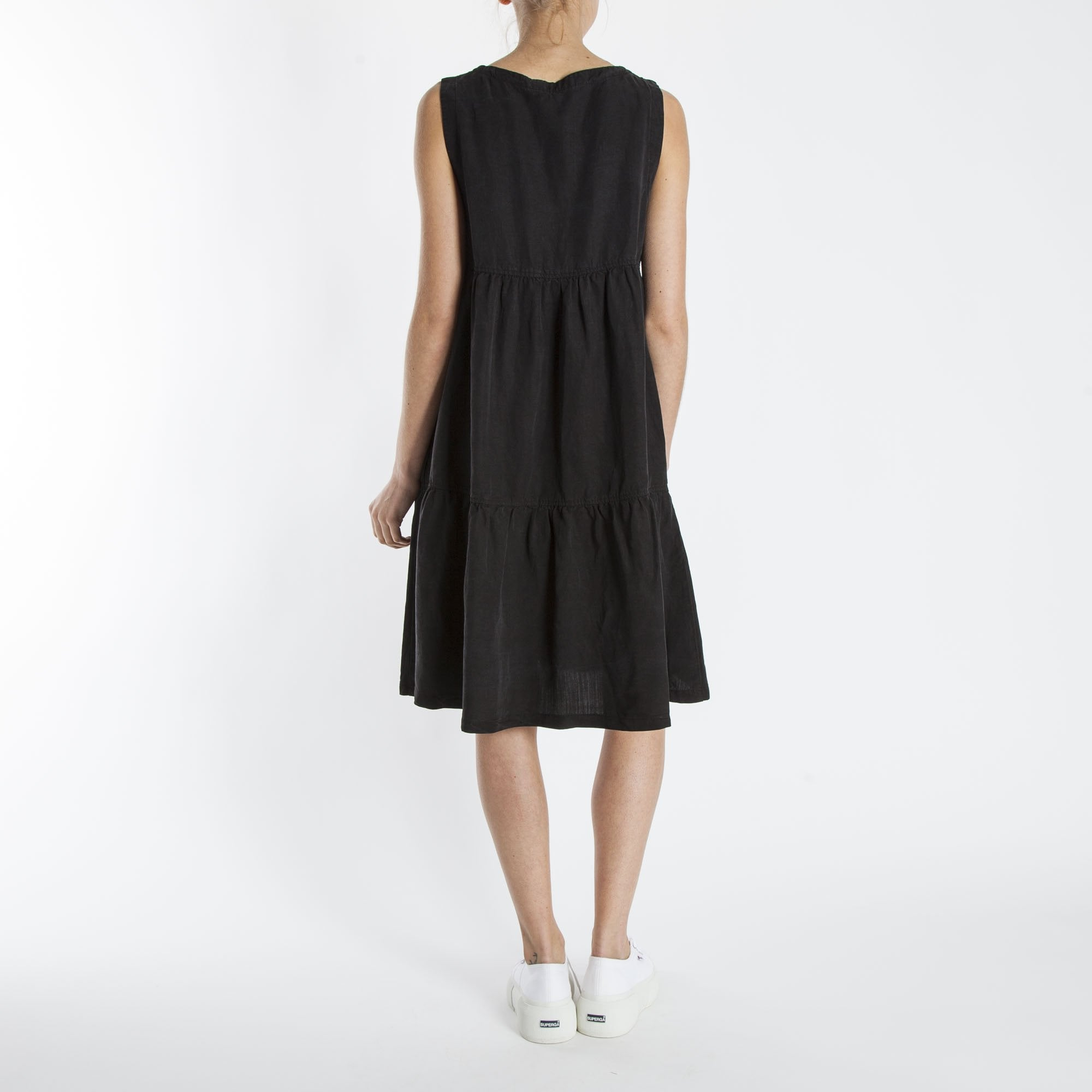 40c354c7f79 European Culture Linen Mix Sundress In Black