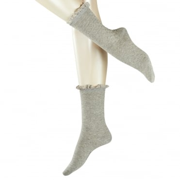 Matelasse Ankle Frill Top Sock in Anthracite