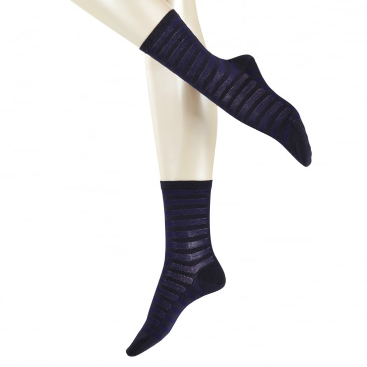 FALKE Poplin Stripe Ankle Sock in Dark Navy