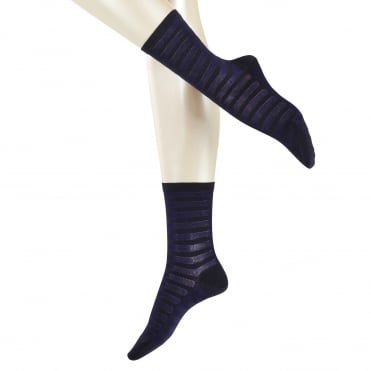 Poplin Stripe Ankle Sock in Dark Navy