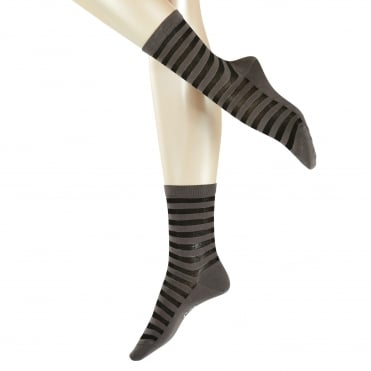 Poplin Stripe Ankle Sock in Elephant