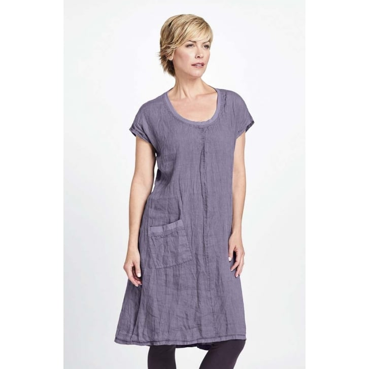 FLAX Feather Short Sleeve Linen Dress