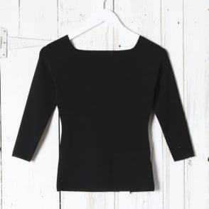 3/4 Sleeve Black Knit Top