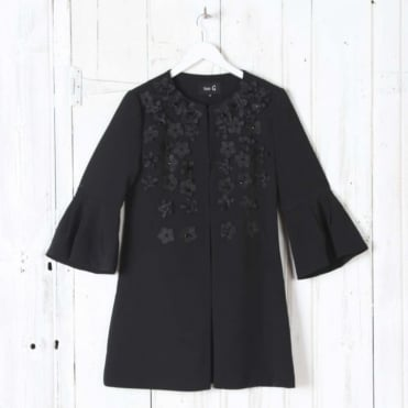 Bell Sleeve Coat with Embellishment