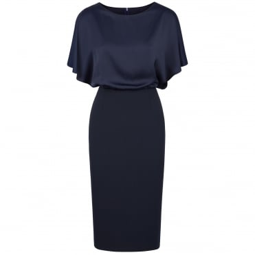 Double Layer Pencil Skirt Dress in Navy