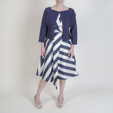 Scallop Edge Dress Cardigan in Navy