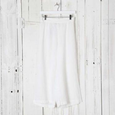 Wide Leg Cropped Linen Trousers