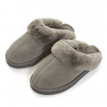 Sheepskin Wedge Slipper in Grey