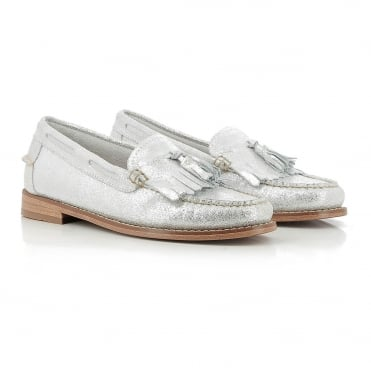 Esther Suede Loafer in Silver/White