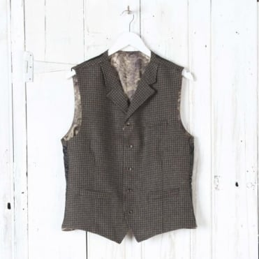 Puppy Tooth Waistcoat in Brown