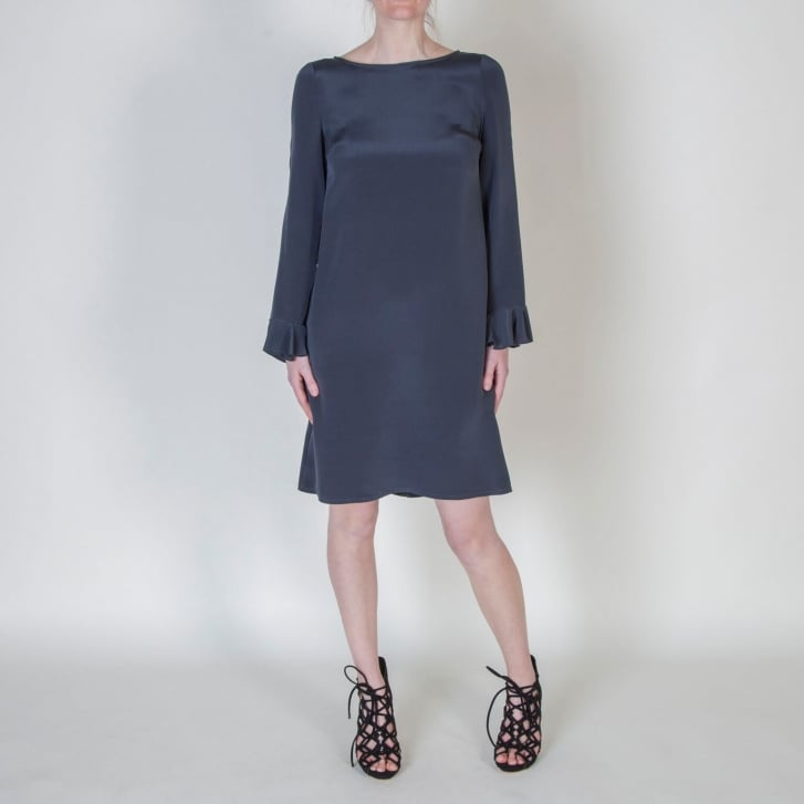 GOAT Favor Fluted Cuff Silk Dress in Graphite