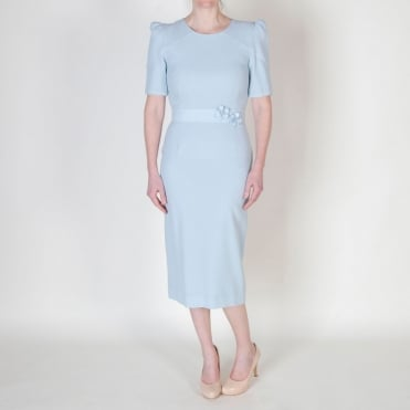 Fawn Pencil Dress in Frost Blue