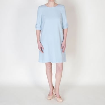 Flame Tunic Dress with Large Button Sleeve in Frost Blue