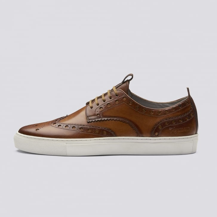 GRENSON Burnished Brogue Leather Sneaker in Tan