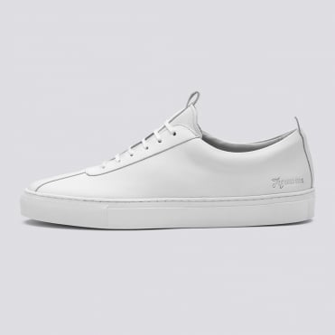 Plain White Lace Up Sneaker