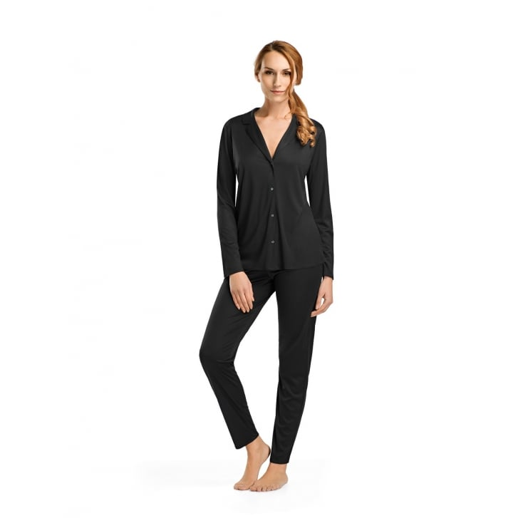HANRO Estelle Lace - Paneled Silk Long Sleeve Pyjama Set in Black