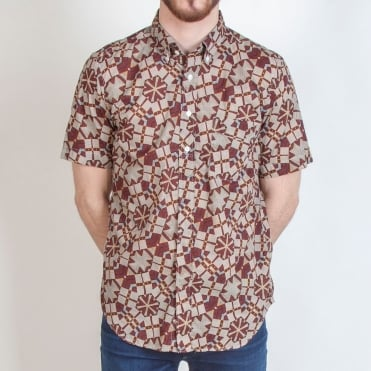 African Print Short Sleeved Shirt in Brown