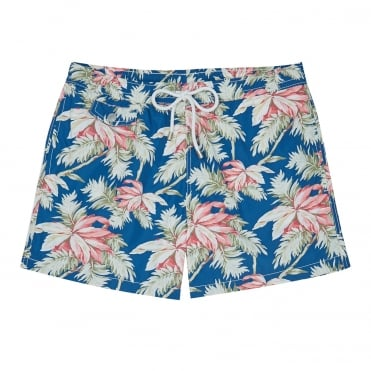 Floral Print Swim Short in Pink