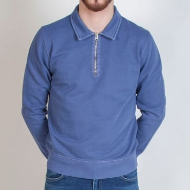 Half Zip Polo Sweat in Airforce Blue